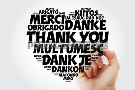 Business: Thank You Love Heart Word Cloud in different languages with mark #15462