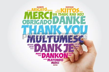Business: Thank You Love Heart Word Cloud in different languages with mark #15463