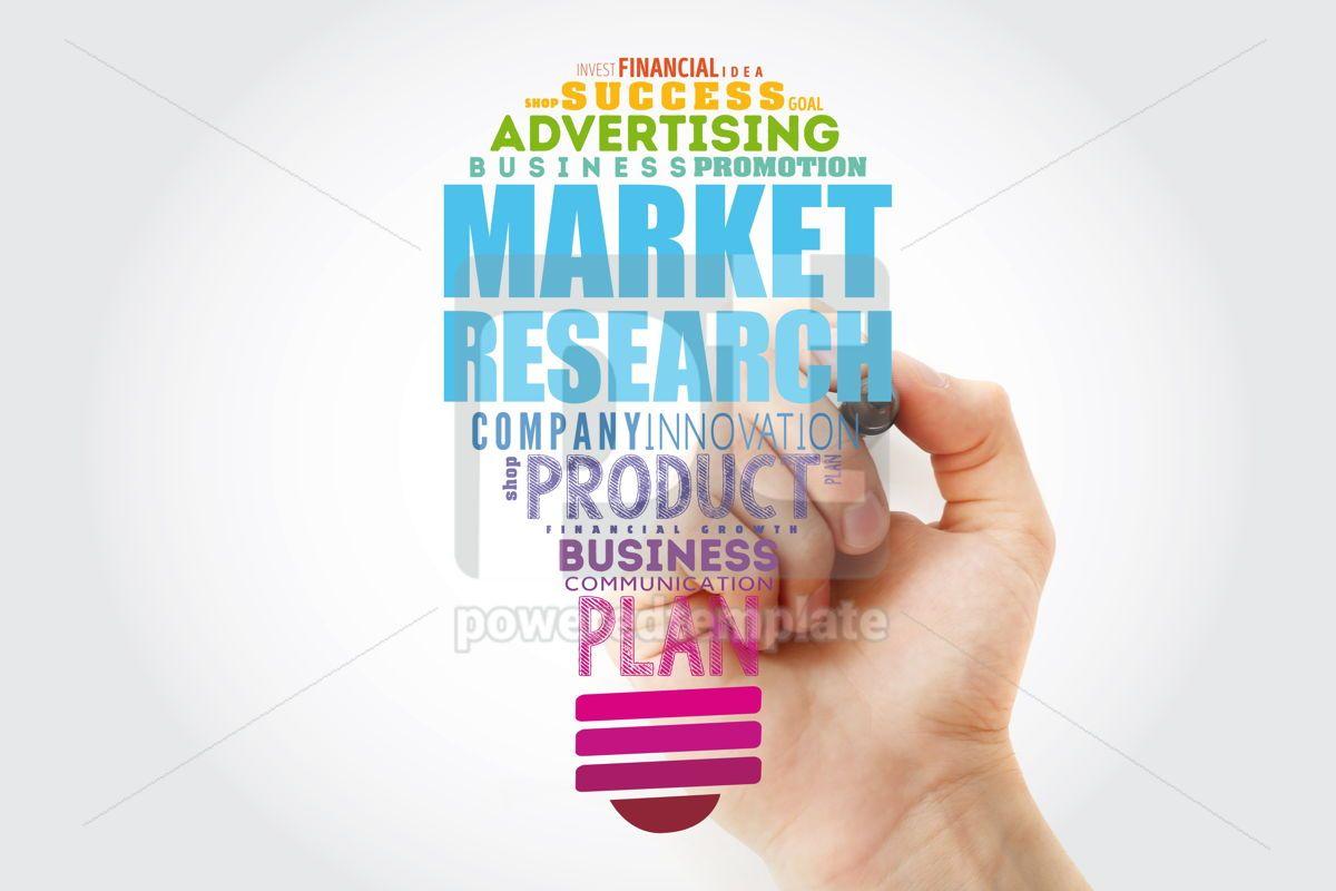 Market research light bulb word cloud business concept backgrou, 15464, Business — PoweredTemplate.com