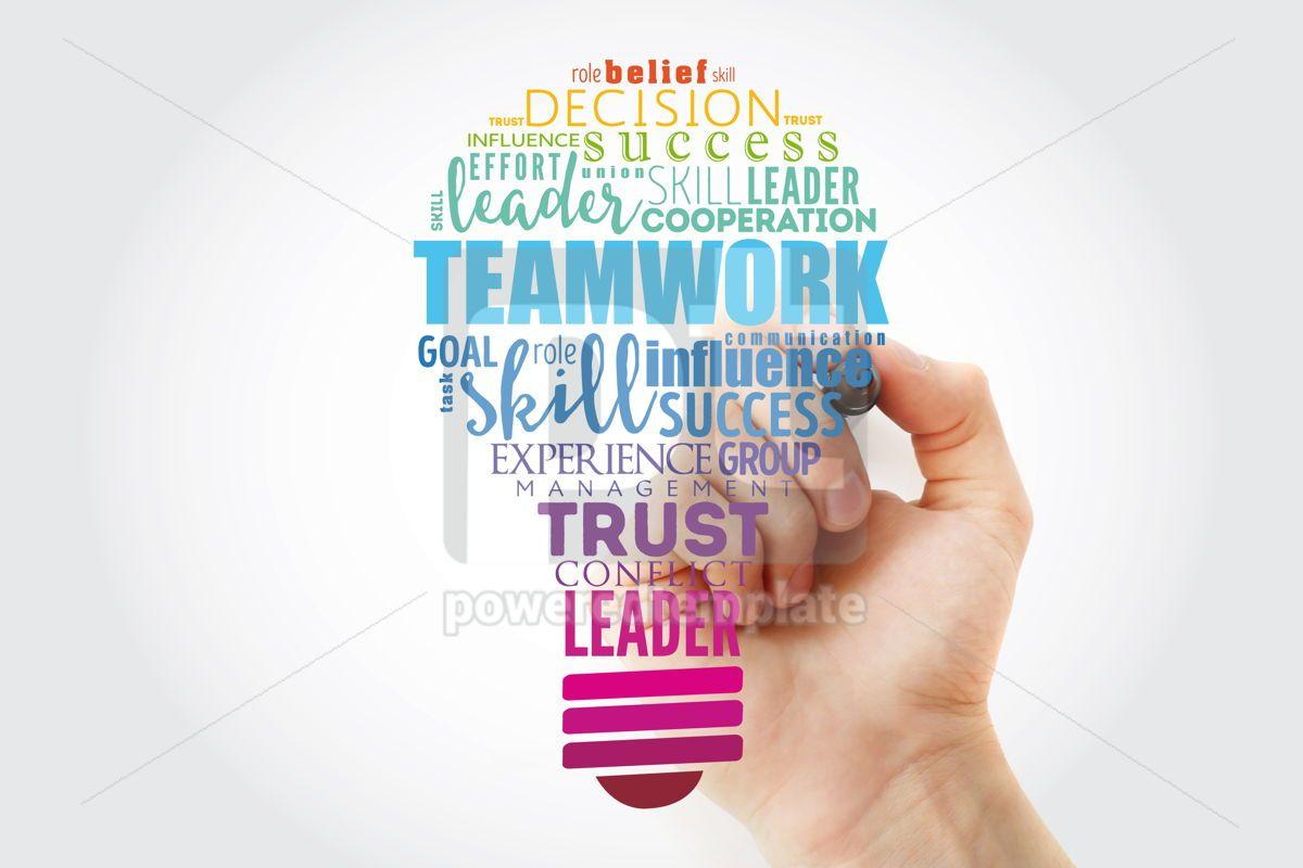 Teamwork light bulb word cloud business concept background, 15465, Business — PoweredTemplate.com