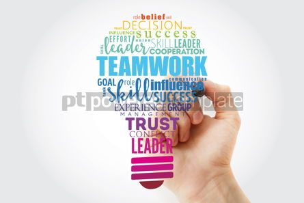Business: Teamwork light bulb word cloud business concept background #15465