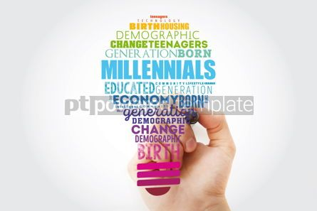 Business: Millennials light bulb word cloud education concept background #15470