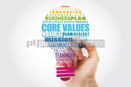 Business: Core values light bulb word cloud collage business concept background #15480