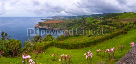 Nature: Picturesque view of North coast of Sao Miguel island Azores Po #15544