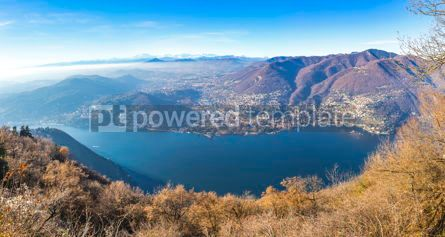 Nature: Panoramic view of Como lake in late autumn Italy #15549