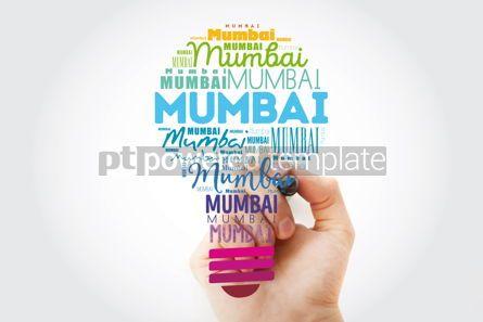 Business: Mumbai light bulb word cloud travel concept background #15576
