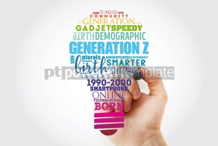 Business: Generation Z light bulb Word Cloud collage concept background #15579