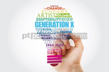 Business: Generation X light bulb Word Cloud collage concept background #15580