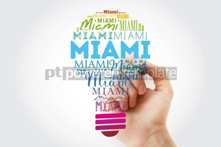 Business: Miami light bulb word cloud travel concept background #15587
