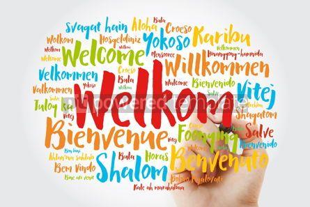 Business: Welkom Welcome in Afrikaans word cloud with marker in differen #15598