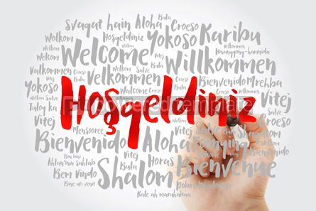 Business: Hosgeldiniz Welcome in Turkish word cloud with marker in diffe #15603