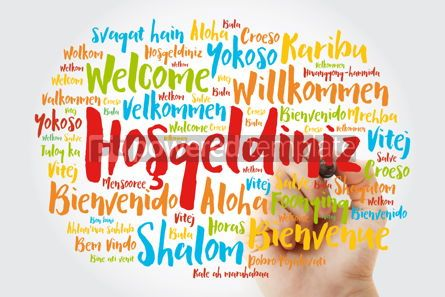 Business: Hosgeldiniz Welcome in Turkish word cloud with marker in diffe #15604