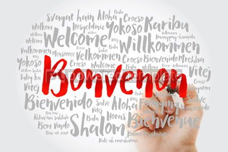 Business: Bonvenon Welcome in Esperanto word cloud with marker in differ #15605