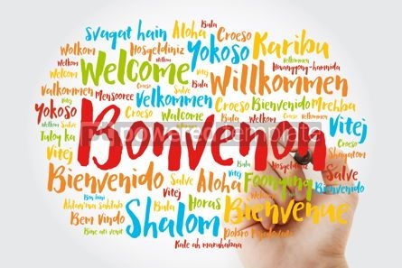 Business: Bonvenon Welcome in Esperanto word cloud with marker in differ #15606