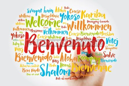 Business: Benvenuto Welcome in Italian word cloud with marker in differe #15608