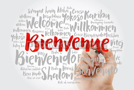 Business: Bienvenue Welcome in French word cloud with marker in differen #15609