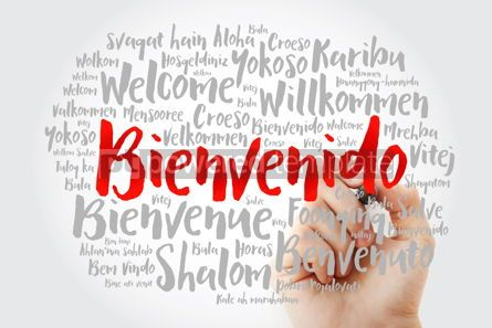 Business: Bienvenido Welcome in Spanish word cloud with marker in differ #15611