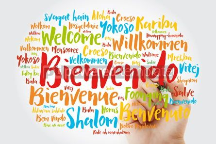 Business: Bienvenido Welcome in Spanish word cloud with marker in differ #15612
