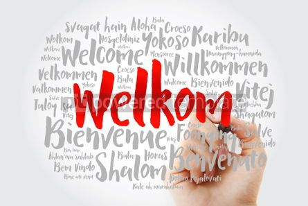 Business: Welkom Welcome in Afrikaans word cloud with marker in differen #15613