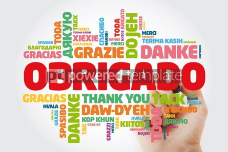 Business: Obrigado Thank You in Portuguese Word Cloud with marker in man #15618