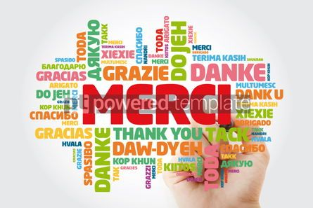 Business: Merci Thank You in French Word Cloud with marker in many langu #15626