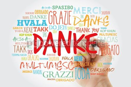 Business: Danke Thank You in German Word Cloud with marker in many langu #15628
