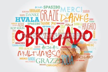 Business: Obrigado Thank You in Portuguese Word Cloud with marker in man #15631
