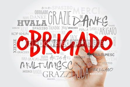 Business: Obrigado Thank You in Portuguese Word Cloud with marker in man #15632