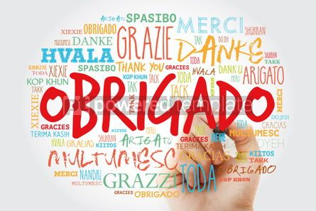 Business: Obrigado Thank You in Portuguese Word Cloud with marker in man #15633