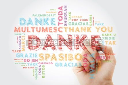 Business: Danke Thank You in German Word Cloud with marker in many langu #15643