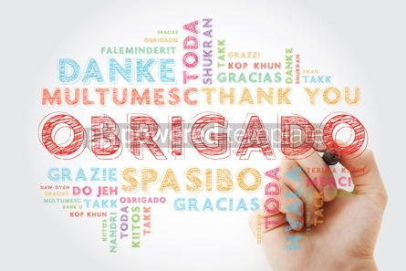 Business: Obrigado Thank You in Portuguese Word Cloud with marker in man #15647