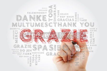 Business: Grazie Thank You in Italian word cloud background in different #15652