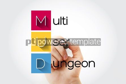 Business: MUD - Multi User Dungeon acronym technology concept background #15678