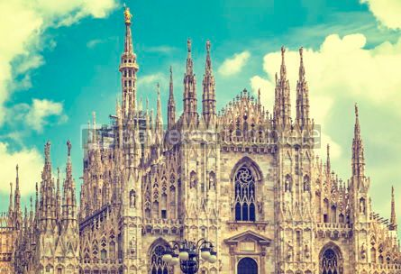 Architecture : Facade view of Duomo di Milano Milan Cathedral Italy #15695