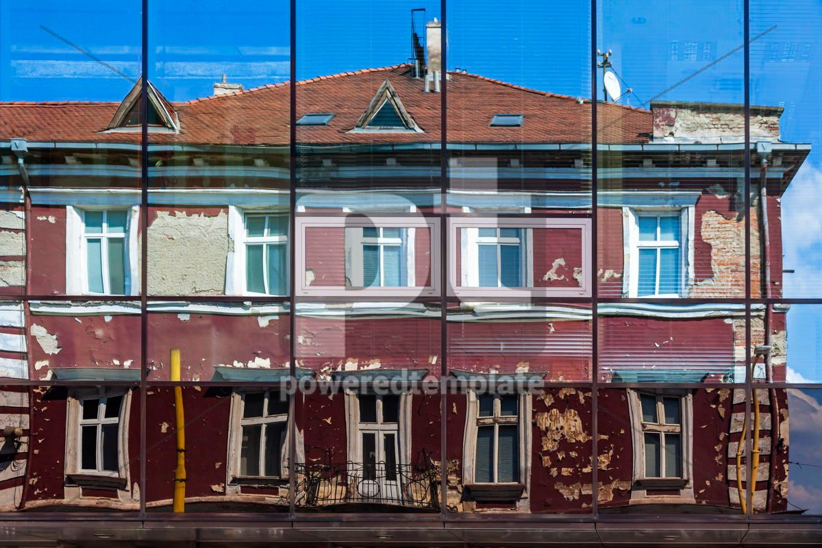 Facade of old building reflected in the windows of modern Hotel, 15697, Architecture  — PoweredTemplate.com