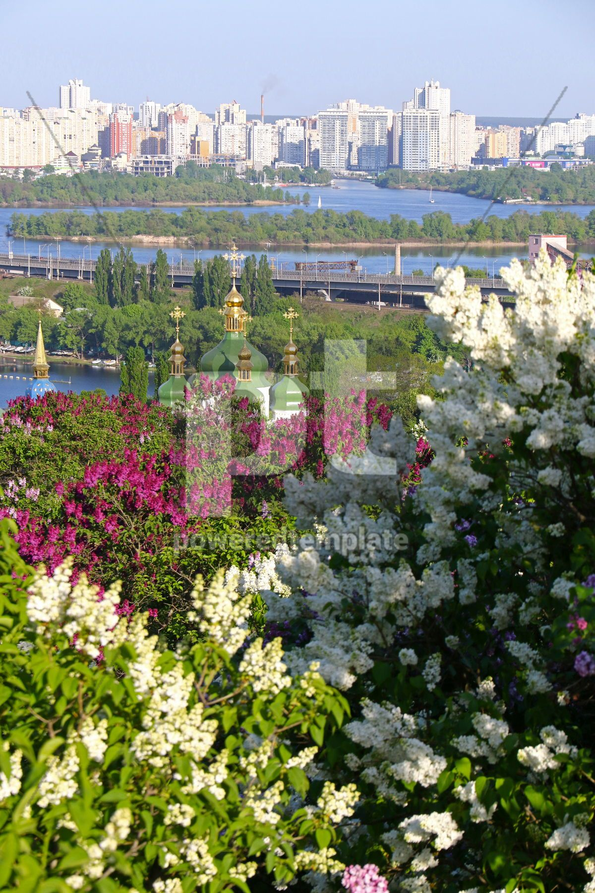 Picturesque spring view of Kyiv city Ukraine, 15856, Nature — PoweredTemplate.com