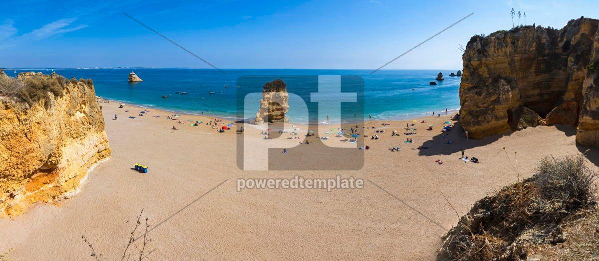 Praia Dona Ana beach in Lagos Algarve Portugal, 15861, Nature — PoweredTemplate.com