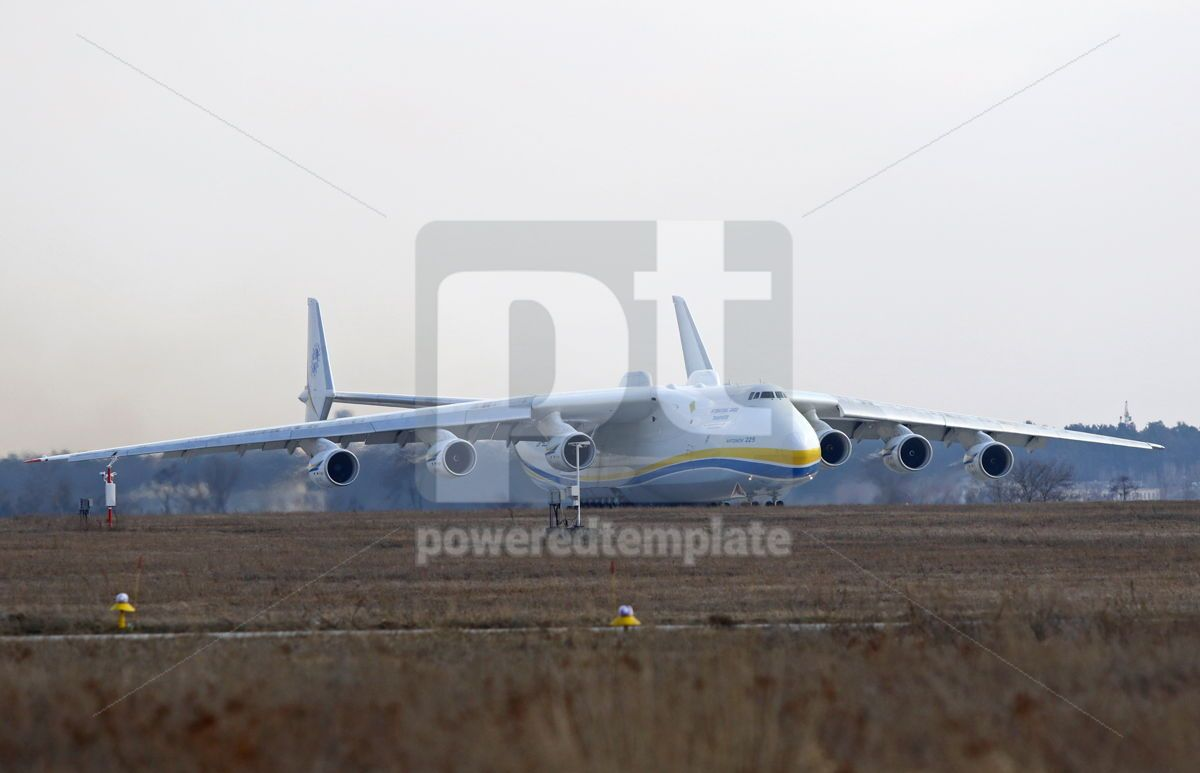 Antonov An-225 Mriya aircraft at Gostomel Airport Kiev Ukraine, 15878, Transportation — PoweredTemplate.com