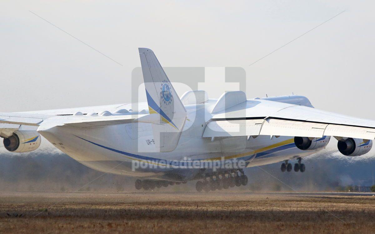 Antonov An-225 Mriya aircraft at Gostomel Airport Kiev Ukraine, 15881, Transportation — PoweredTemplate.com