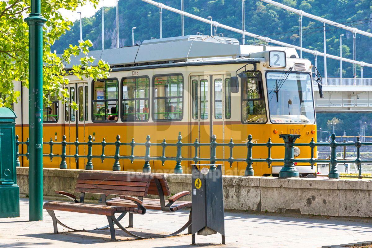 Tram moves along Danube river in Budapest Hungary, 15884, Transportation — PoweredTemplate.com