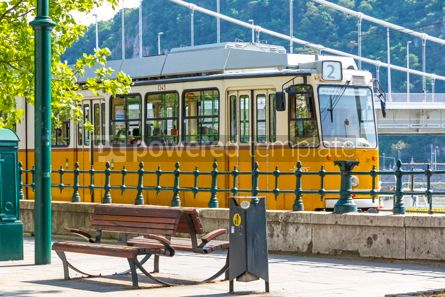 Transportation: Tram moves along Danube river in Budapest Hungary #15884
