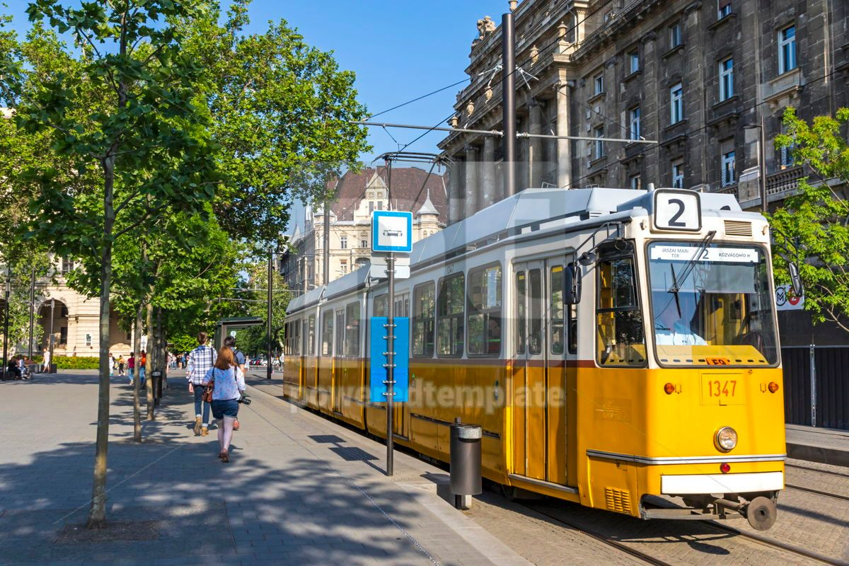 Tram No 2 stops on Kossuth Lajos ter in Budapest Hungary, 15885, Transportation — PoweredTemplate.com