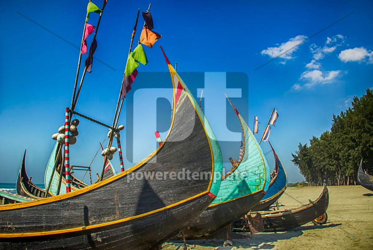 Wooden Fishing Boat On a Coxbazar Sea Beach With Blue Sky Background in Bangladesh, 15888, Nature — PoweredTemplate.com