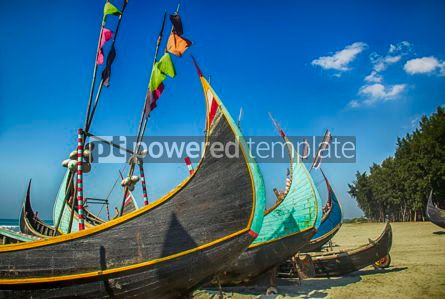 Nature: Wooden Fishing Boat On a Coxbazar Sea Beach With Blue Sky Background in Bangladesh #15888