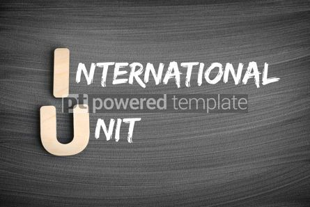 Business: IU - International Unit acronym concept on blackboard #16240