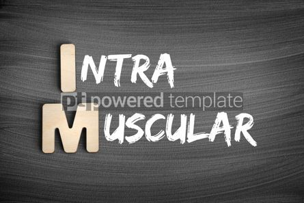 Business: IM - intramuscular acronym medical concept on blackboard #16246