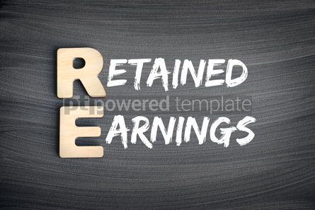 Business: RE - Retained Earnings acronym business concept on blackboard #16258