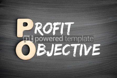 Business: PO - Profit Objective acronym business concept on blackboard #16261