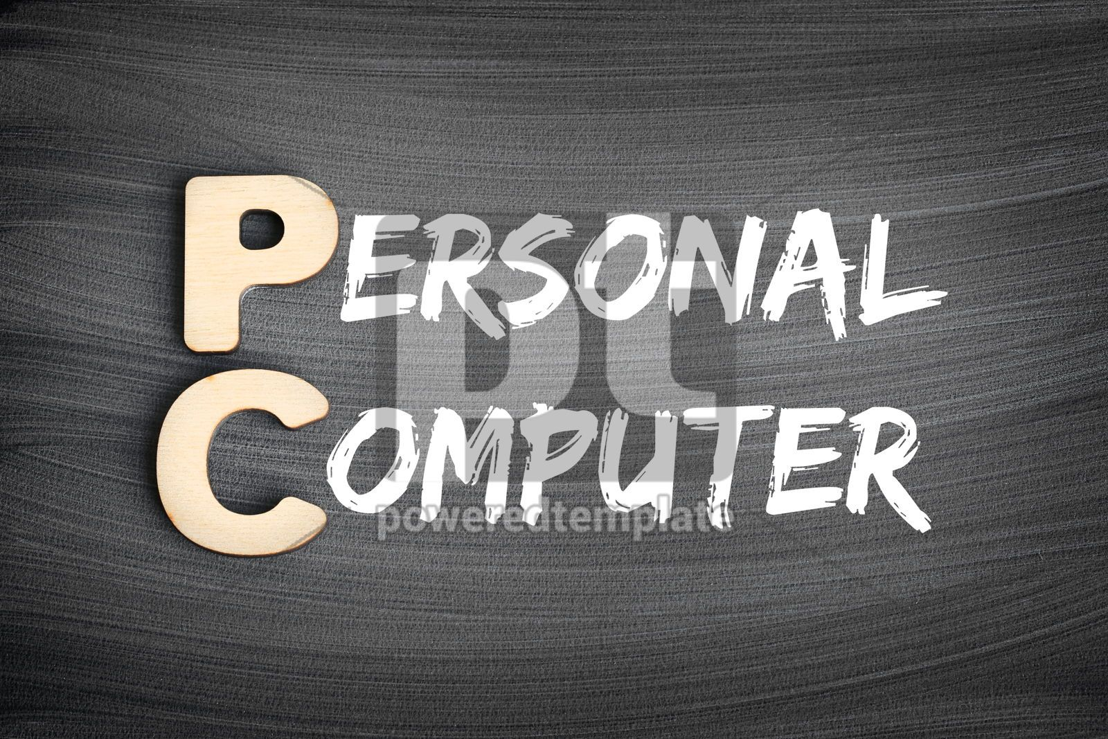 PC - Personal Computer acronym technology concept on blackboard, 16267, Business — PoweredTemplate.com