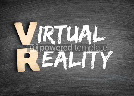 Business: VR - Virtual Reality acronym technology concept on blackboard #16278